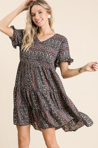 Black Multi Boho Tiered Dress