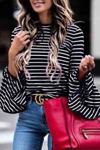 Black/White Striped Bell Sleeve Top
