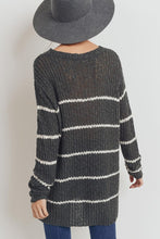 Charcoal Striped Loose Fit Sweater