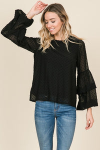 Black Ruffle Sleeve Blouse