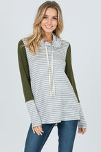 Olive Grey Striped Hooded Top