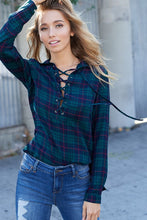 Green Plaid Lace Up Top