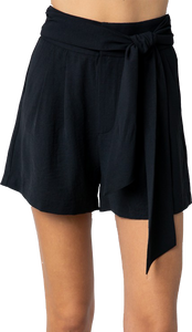 Black Tie High Waisted Shorts