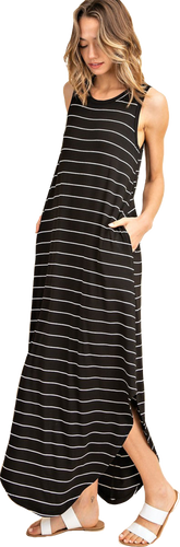 Black Striped Sleeveless Maxi Dress