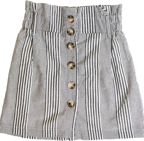 Black Striped Paperbag Skirt