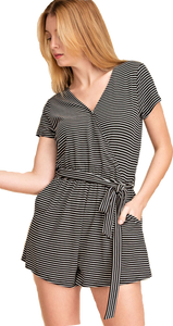 Black Striped Surplice Romper