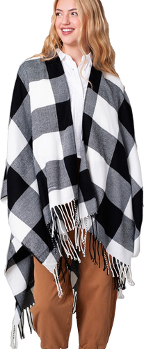 White Buffalo Plaid Poncho