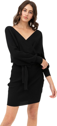 Black Sweater Wrap Dress