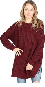Burgundy Chunky Knit Pullover Sweater