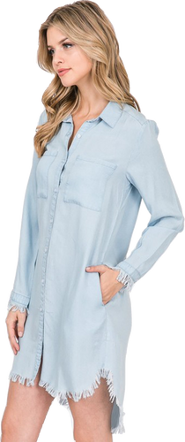 Chambray Frayed Shirt Dress