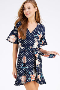 Navy Floral Polka Dot Wrap Dress