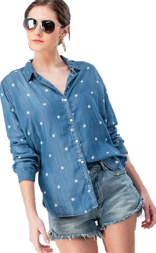 Denim Star Print Button Shirt