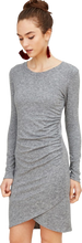 Heather Grey Ruched Long-Sleeved Dress