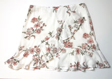 White Floral Wrap Mini Skirt
