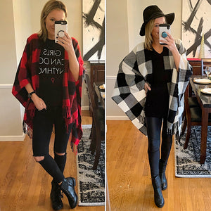 Red Buffalo Plaid Poncho