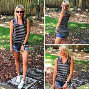 Navy White Striped Vneck Tank