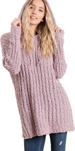 Lilac Popcorn Hooded Pullover