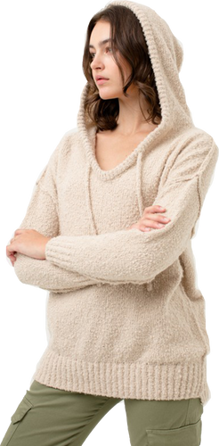 Oatmeal Boucle Knit Hooded Sweater