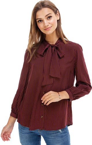 Plum Print Tie Neck Blouse