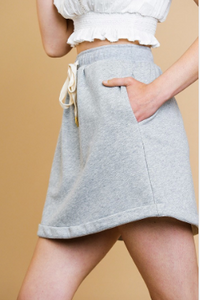 Grey Drawstring Casual Skirt
