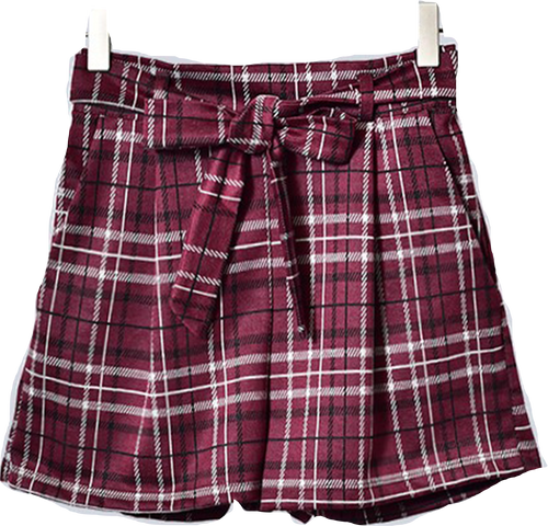 Wine Plaid Tie Waist Shorts