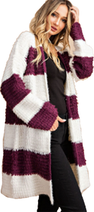 Wine Wide Striped Fuzzy Cardigan