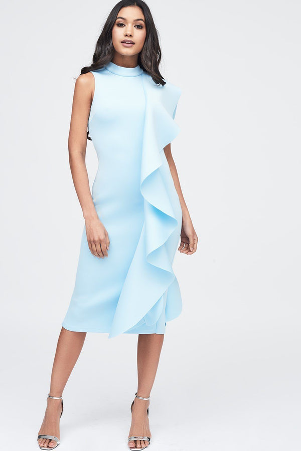 926e98cae6c Scuba Frilled Midi Dress in Dusty Blue ...