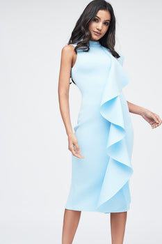 Scuba Frilled Midi Dress in Dusty Blue
