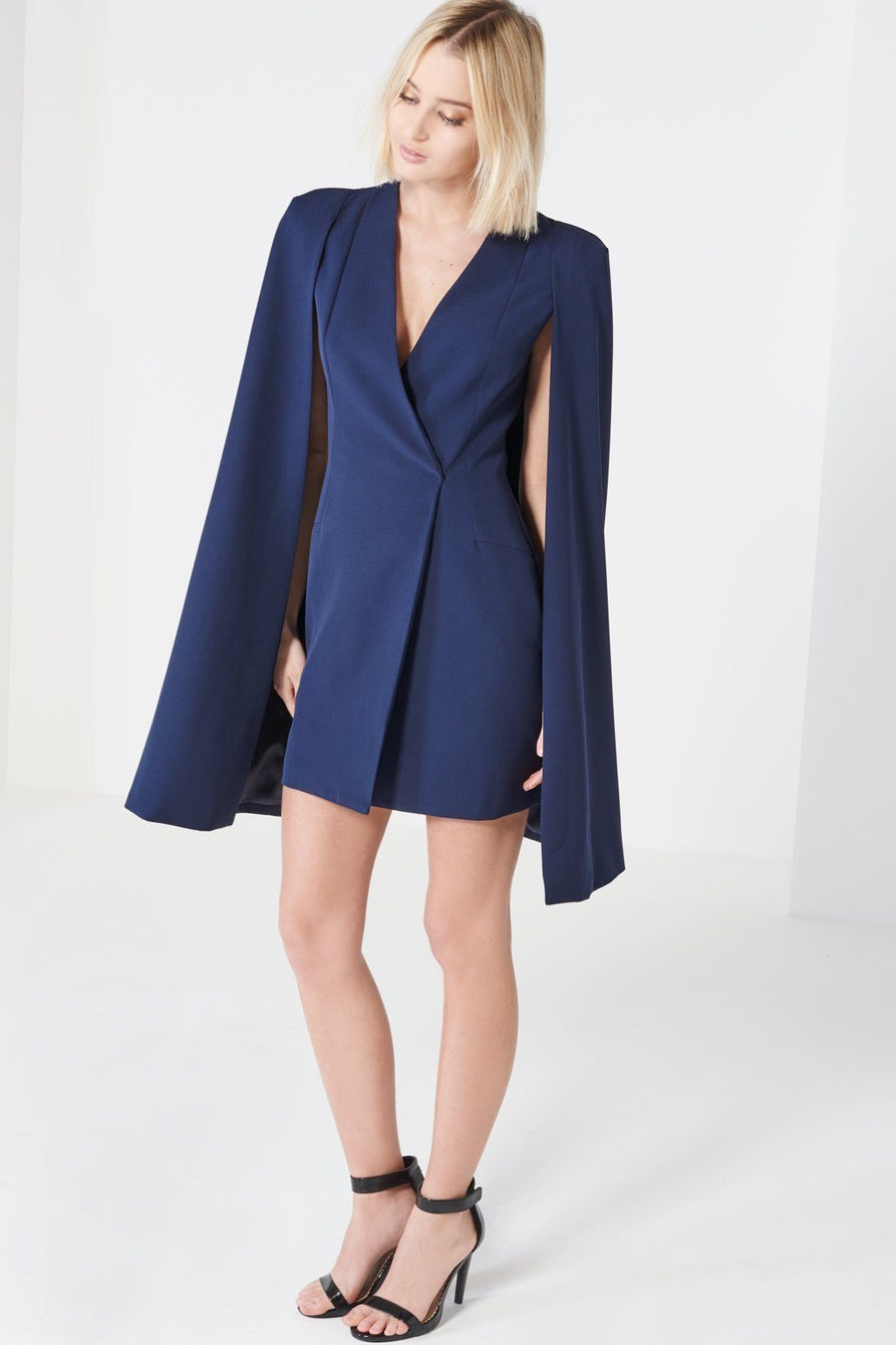 Navy Split Back Cape Dress