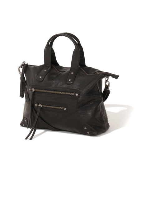 Black Leather Oversized Zip Detail Tote Bag