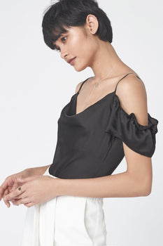 Cold Shoulder Camisole Bodysuit in Black Satin