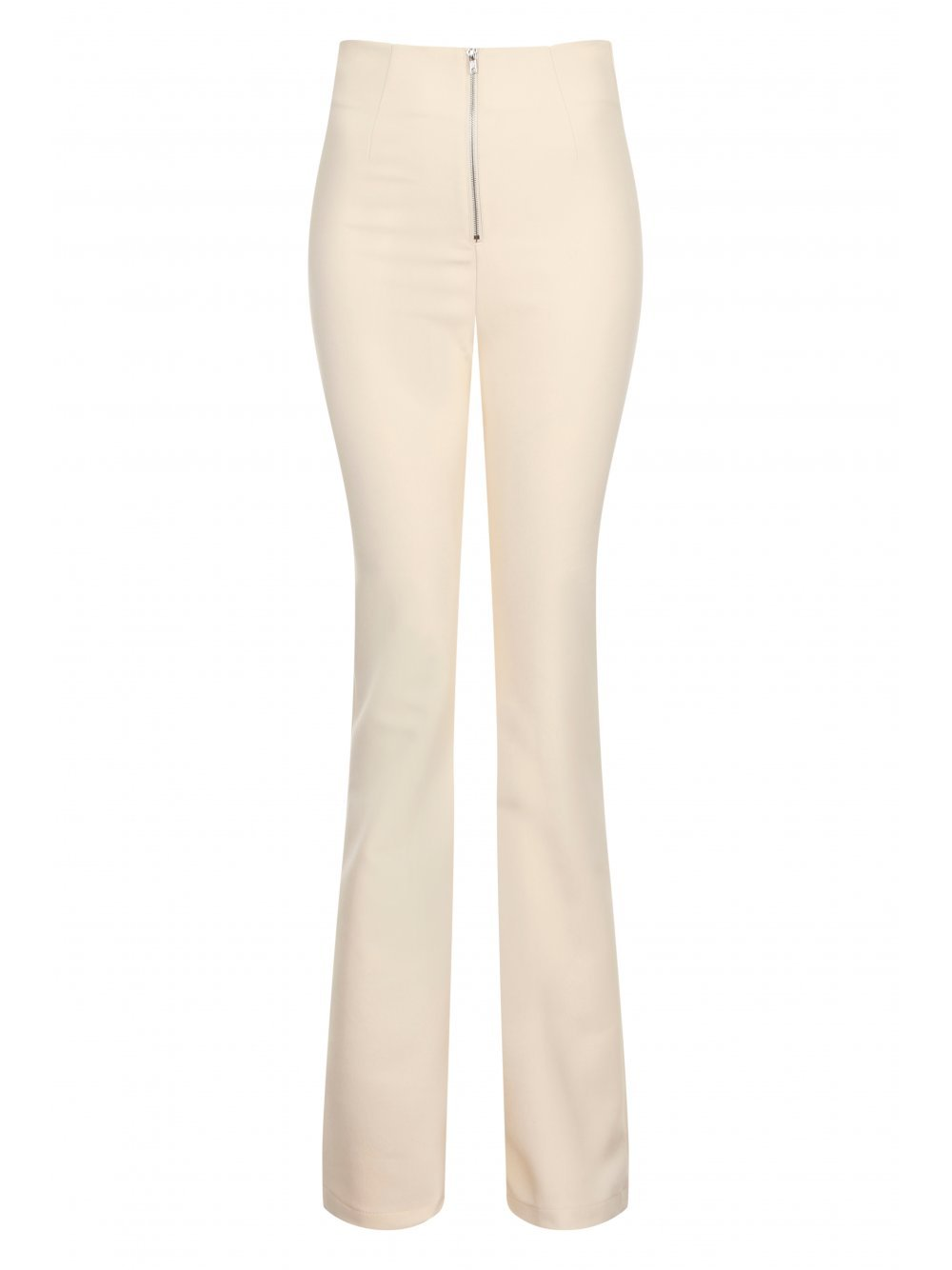 Cream Zip Detail Flares