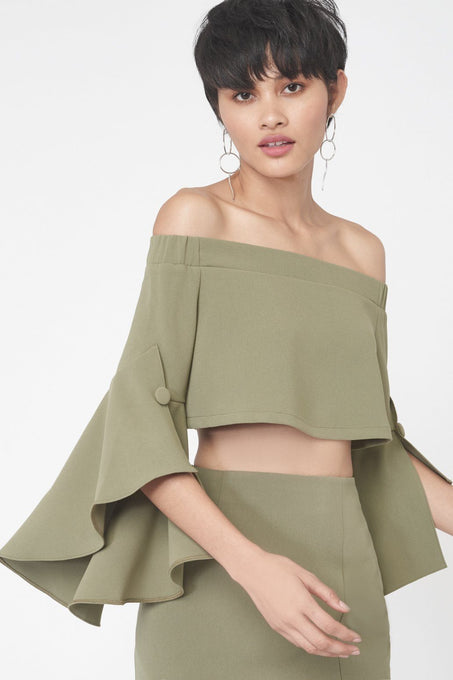 Bell Sleeve Crop Top in Khaki
