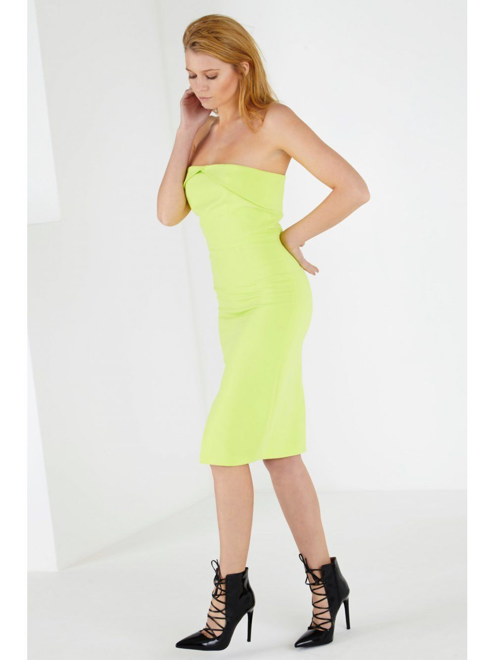 Lime Green Bandeau Bodycon Midi Dress (Vicky Pattison)