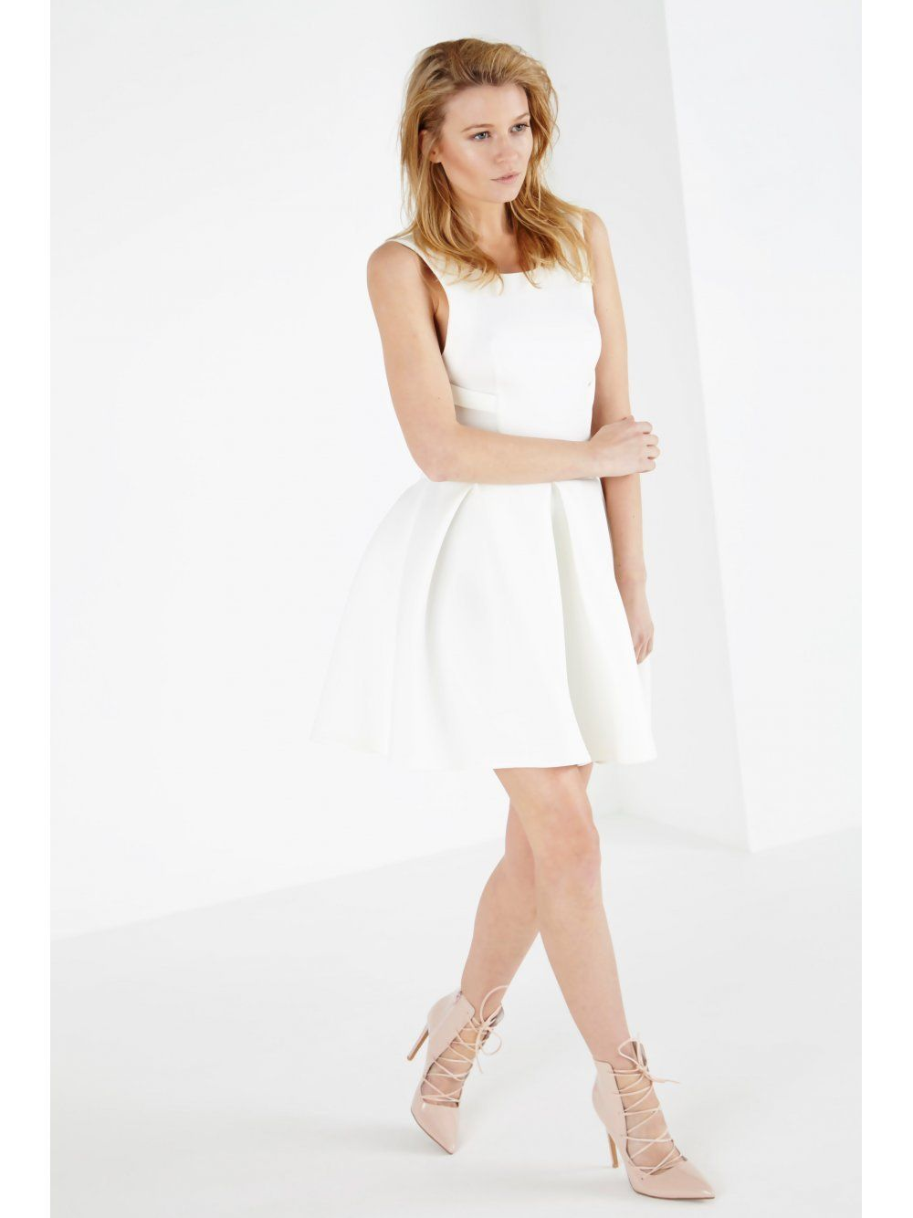 White Scuba Strap Detail Skater Mini Dress
