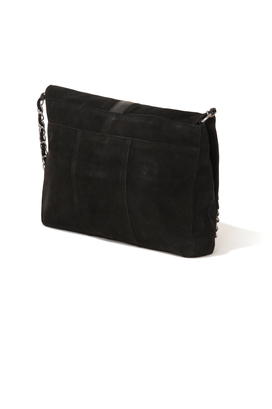 Black Suede Circle Buckle Detail Cross Body Bag