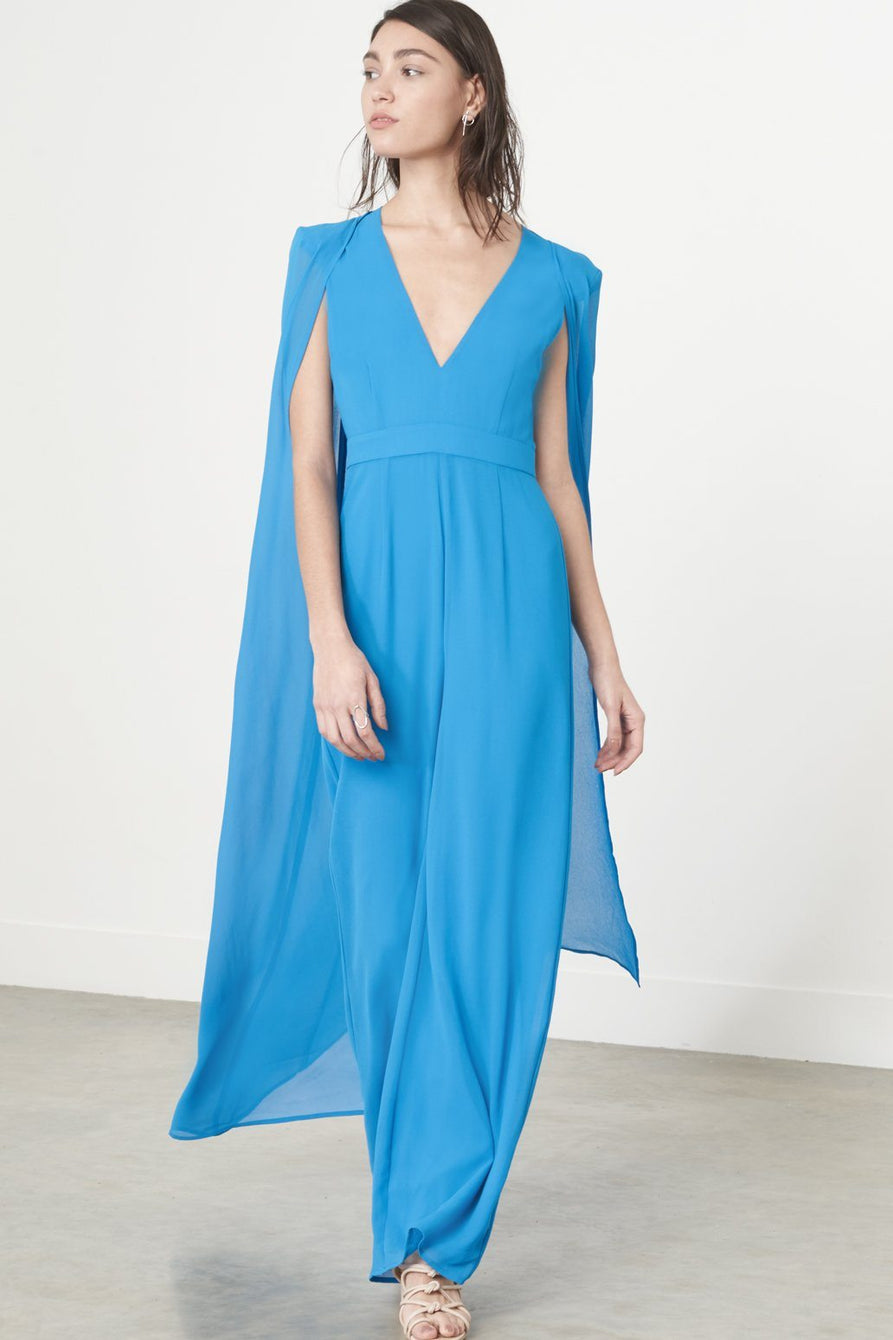 Caped Jumpsuit in Cerulean Blue Chiffon