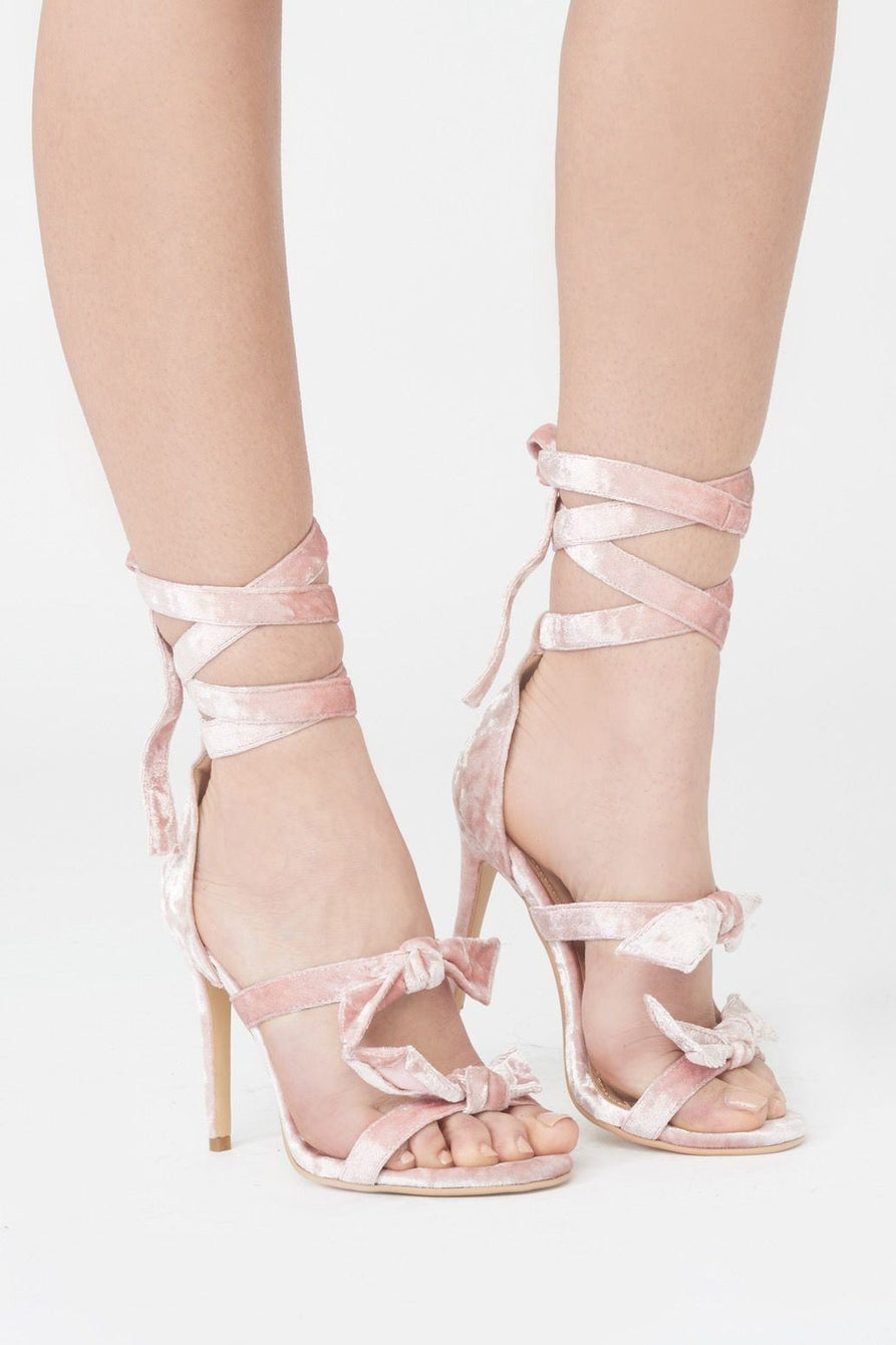 Powdered Pink Velvet Wrap Ankle Stiletto