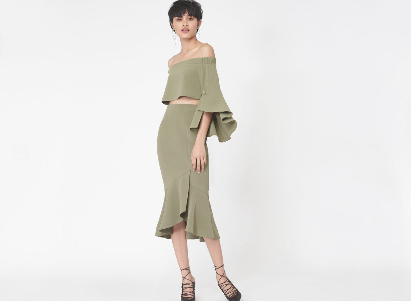 Frill Wrap Midi Skirt in Khaki