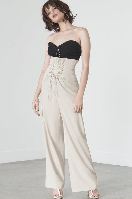 Lace Up Corset Trousers in Soft Nude