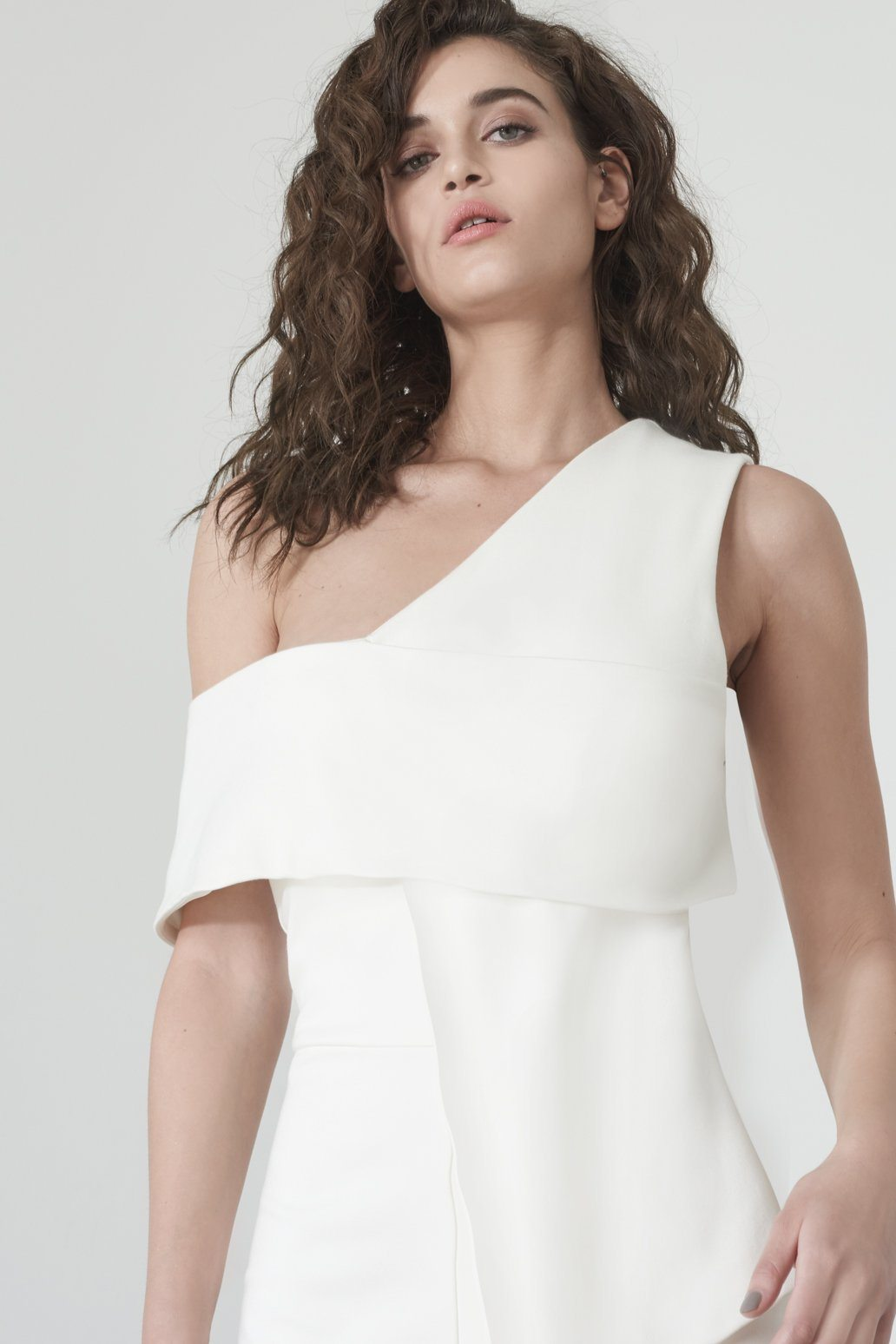 Asymmetric Cold Shoulder Dress in Off White