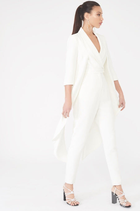 Tailored Waistcoat Jumpsuit in White