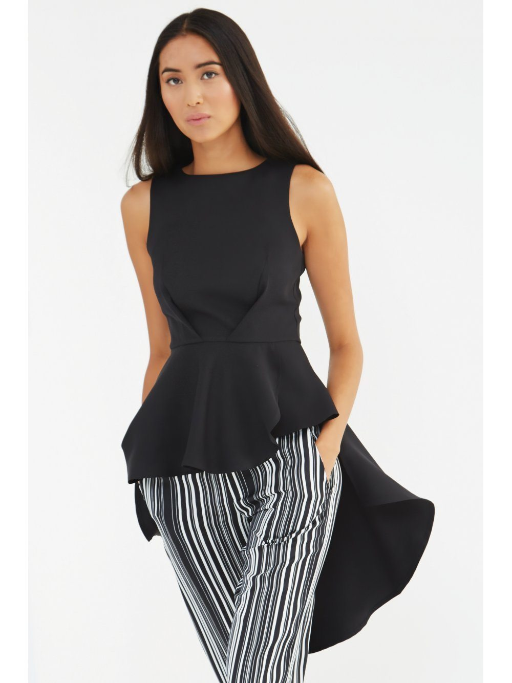 Black Waterfall Back Structured Top