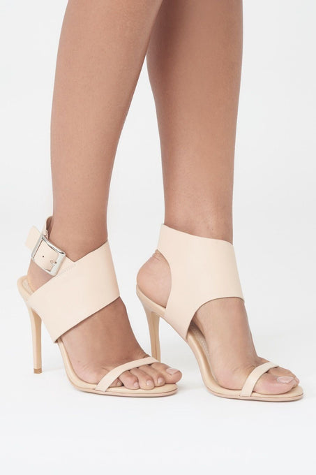 Asymmetric Buckle Stiletto Heels in Nude Leather