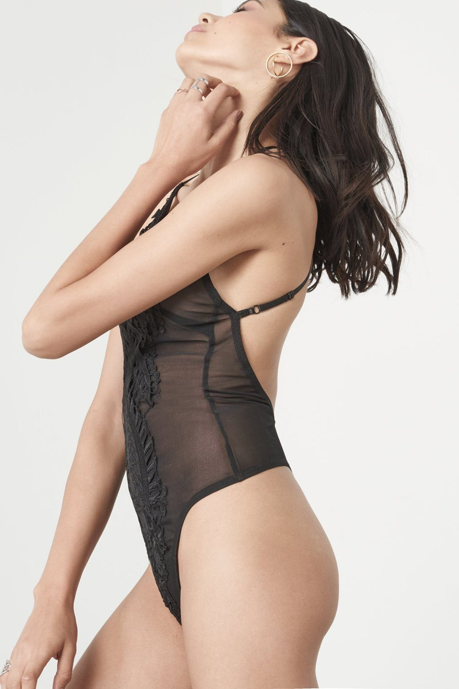 Black Crochet Detail Cross Back Mesh Thong Body