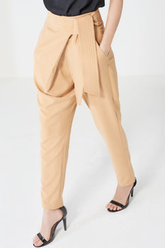 Camel Sash Tie Belt Crossover Trousers