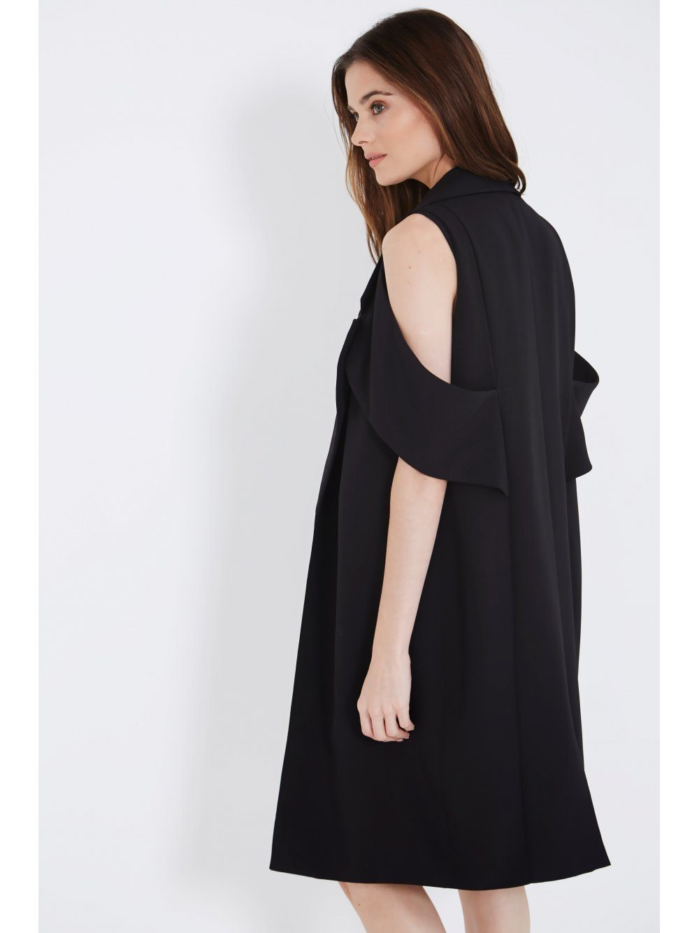 Black Open Sleeve Duster Coat