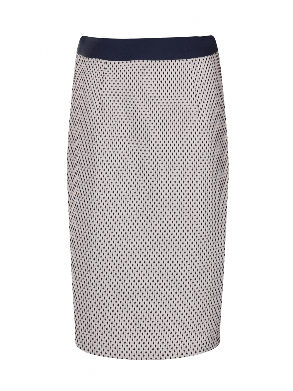 White & Navy Textured Spot Print Pencil Skirt