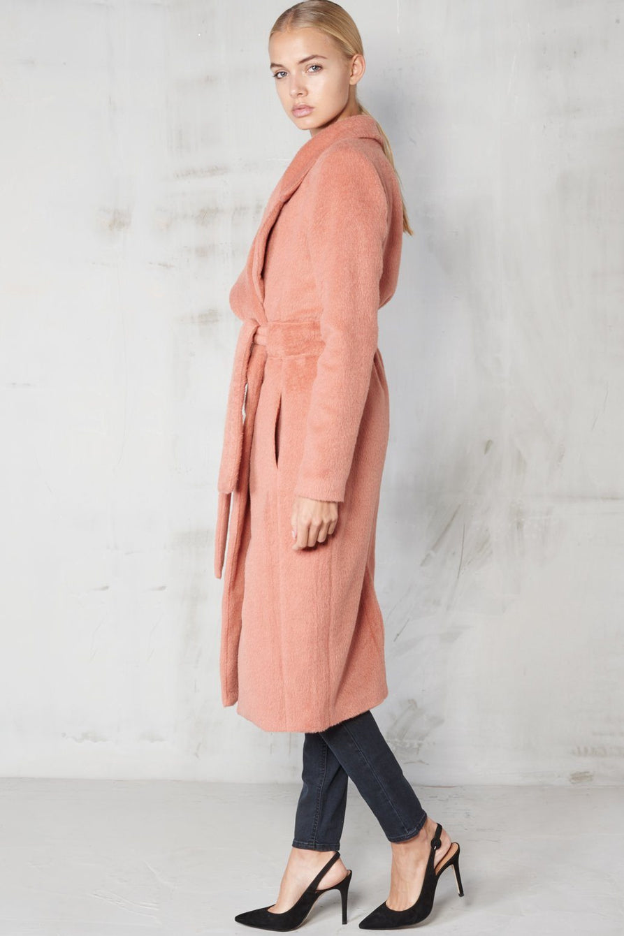 Rose Pink Brushed Wool Belted Coat