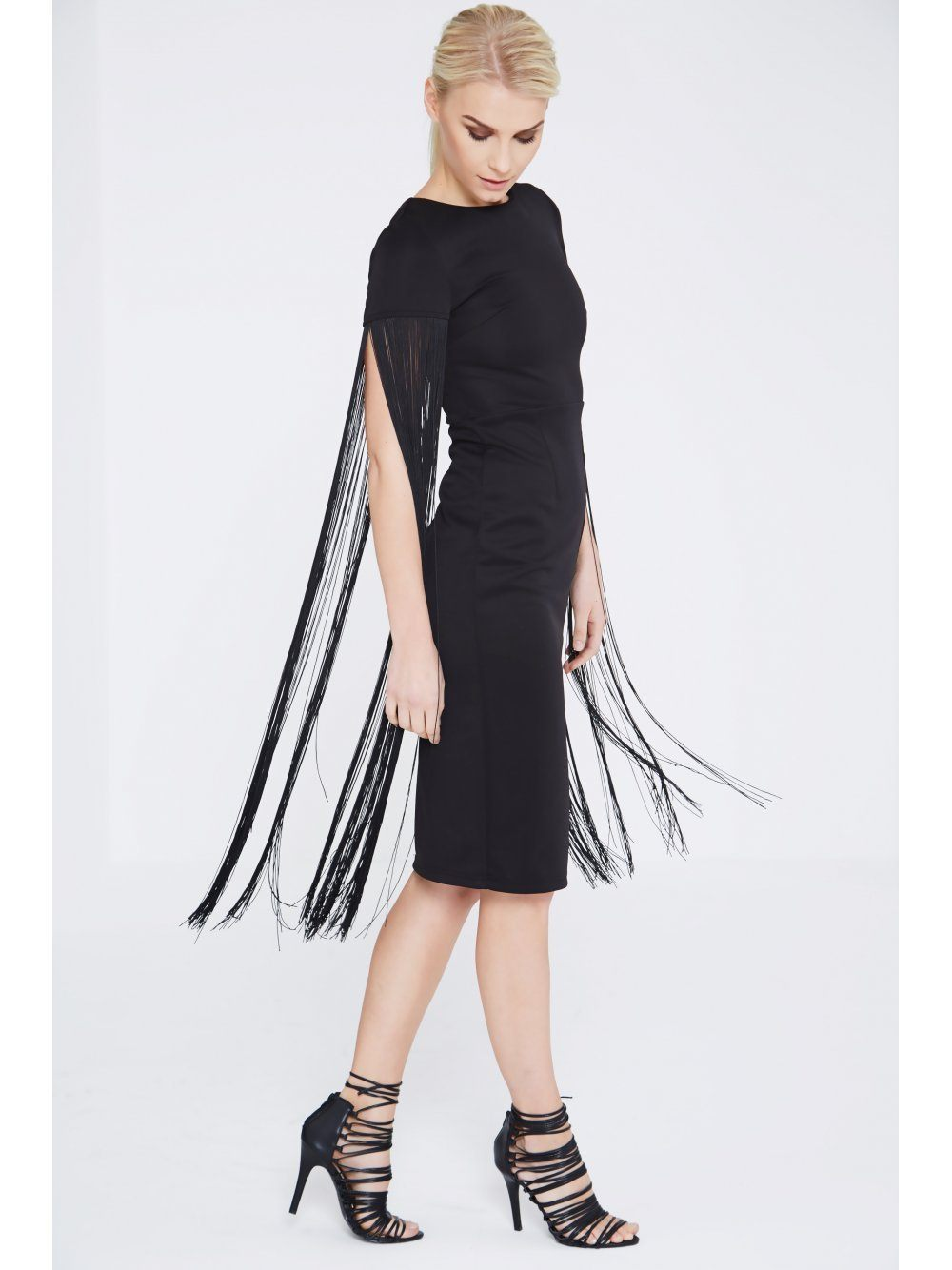 Black Fringe Shoulder Midi Dress